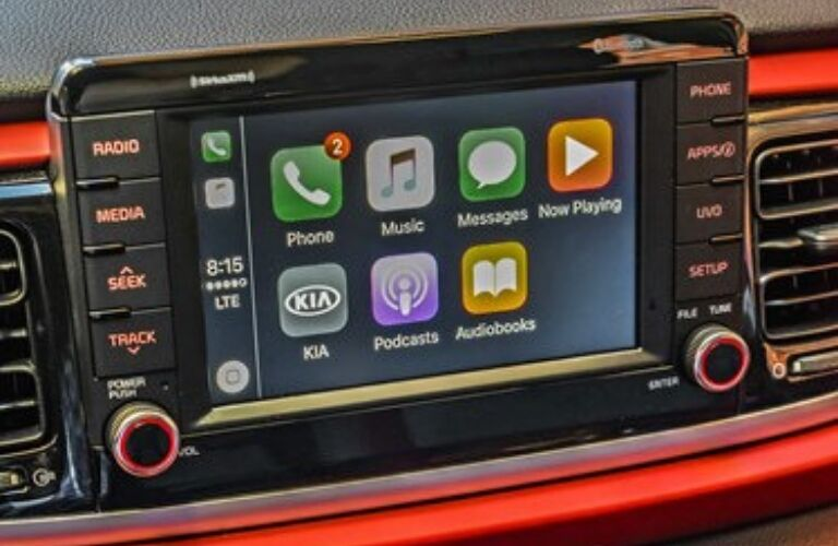 Closeup view of infotainment in 2019 Kia Rio 5-door