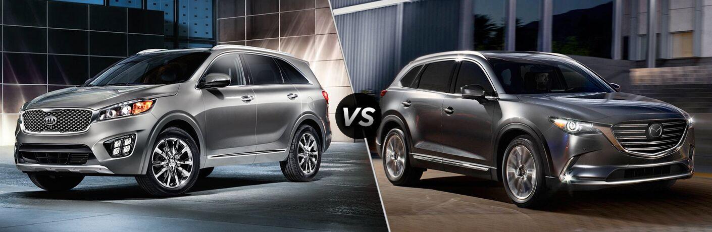 2018 Kia Sorento Exterior Driver Side Front Profile vs 2018 Mazda CX-9 Exterior Passenger Side Front Profile