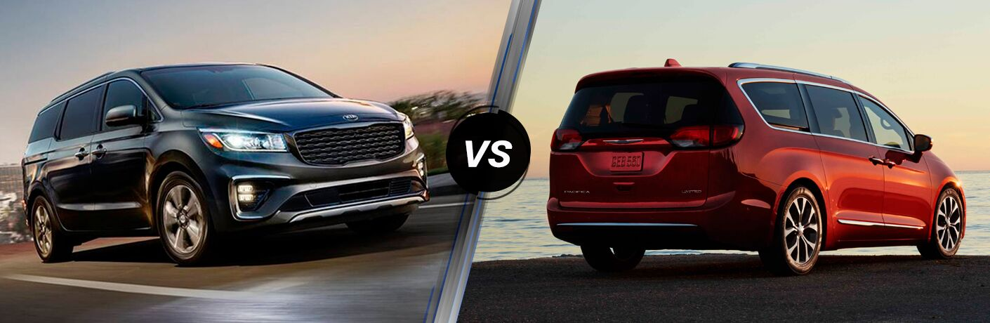 2019 Kia Sedona exterior front fascia and passenger side going fast on blurred highway vs 2019 Chrysler Pacifica exterior back fascia and passenger side with lake in background