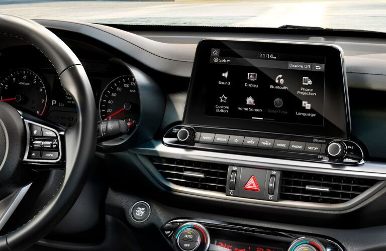 Driver area and touchscreen on the 2021 Kia Forte