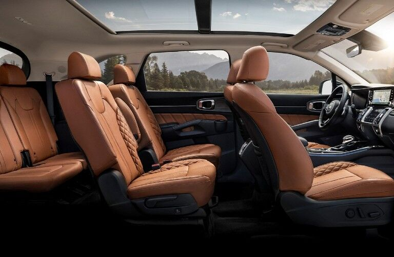 2021 Kia Sorento interior side view of front second and third row seats