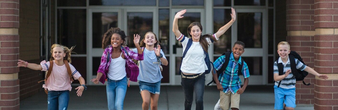 Group of kids excited about school