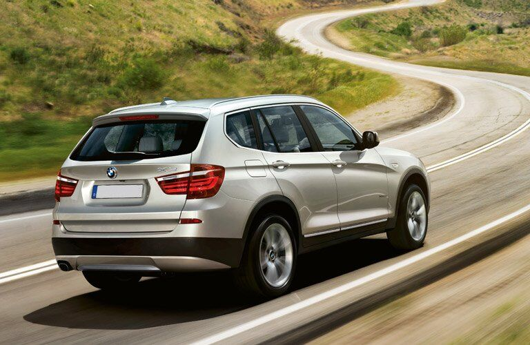 side view of the 2017 BMW X3 on the road