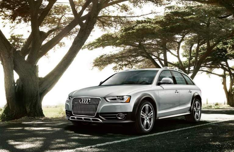 Silver 2014 Audi A5 Wagon on Wooded Road