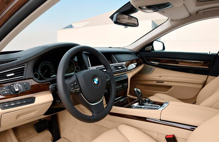 2014 BMW 7 Series interior front cabin seats steering wheel and dashboard