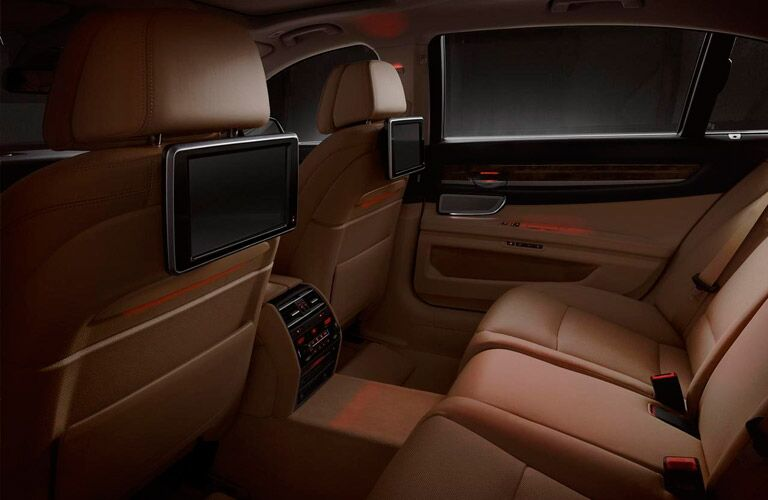 2014 BMW 7 Series interior back cabin with red ambient lighting