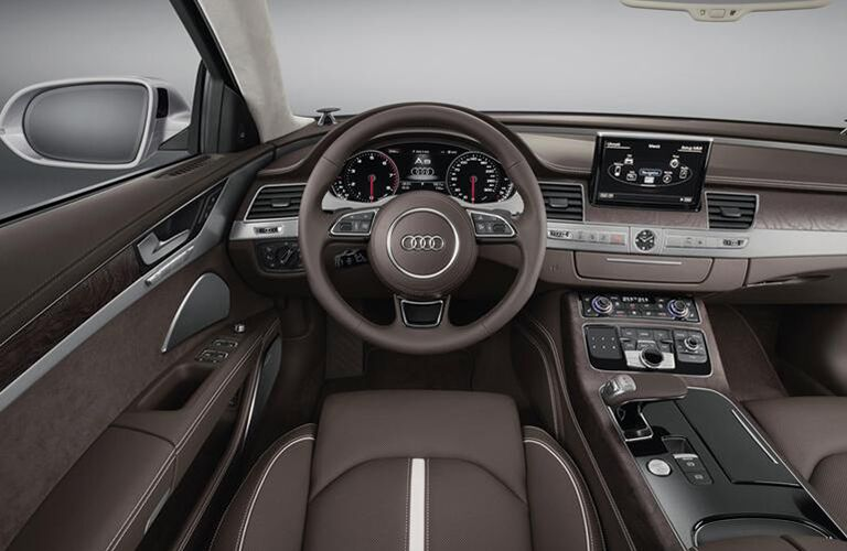 2015 Audi A8 interior front cabin seats steering wheel and partial dashboard