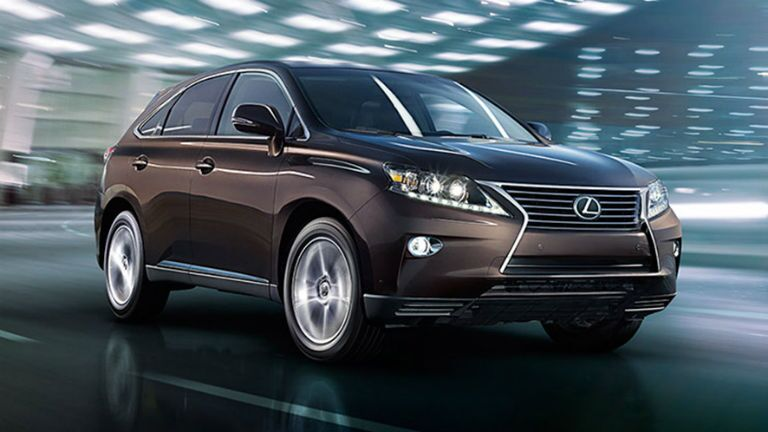 2015 Lexus RX exterior front fascia and passenger side in lighted building going fast