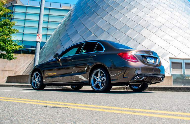 Bronze 2015 Mercedes-Benz C-Class Rear Exterior on City Street