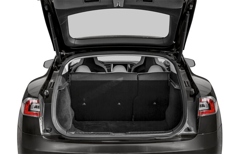 2015 Tesla Model S exterior looking into trunk space
