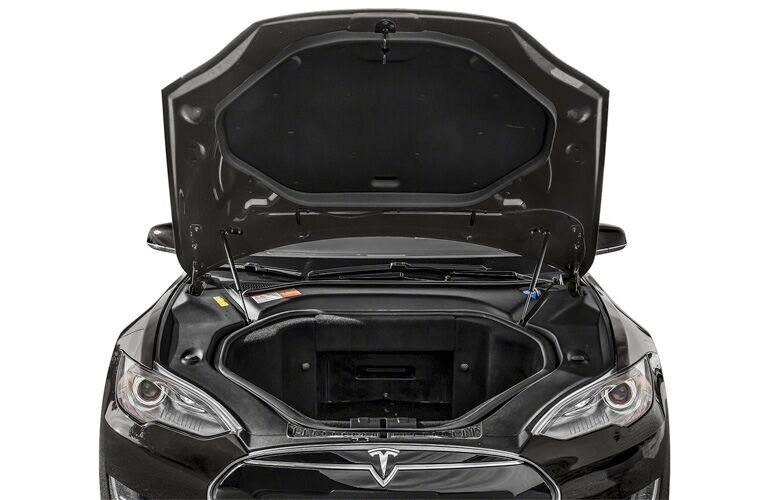 2015 Tesla Model S exterior front fascia with hood up