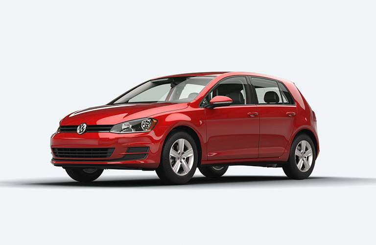 red 2015 VW Golf front side view