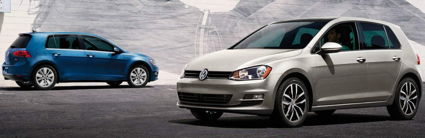 two 2015 VW Golf models side view