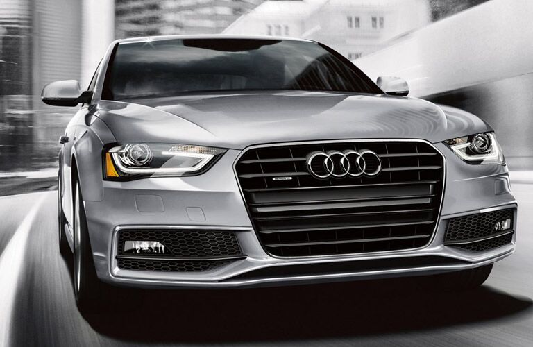 Silver 2016 Audi A4 Front Grille and Exterior on Highway