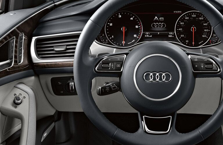 2016 Audi A6 interior close up of steering wheel