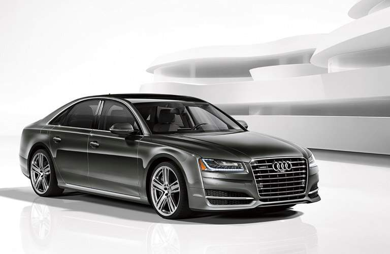 gray Audi A8 L front side view