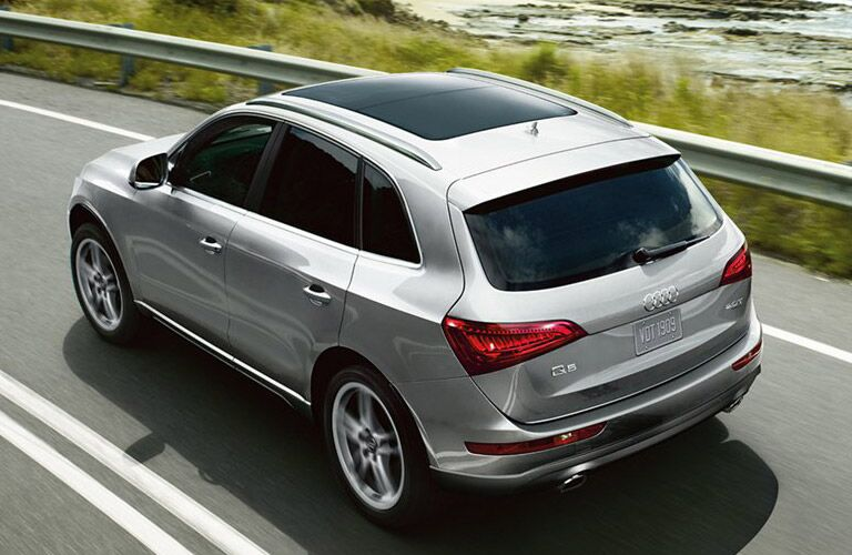 Silver 2016 Audi Q5 Rear Exterior on Highway with Sunroof