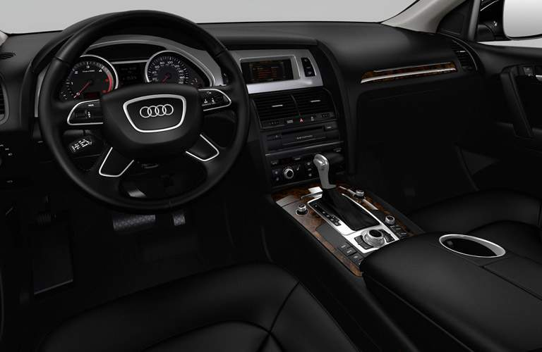 2019 Audi Q7 interior front cabin steering wheel and dashboard