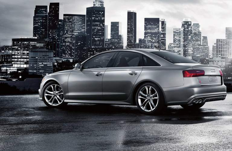 silver Audi S6 back side view