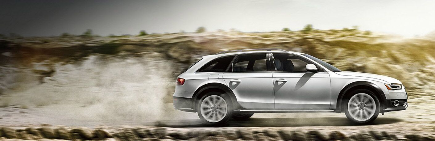 2016 Audi Allroad exterior passenger side profile going fast on desert road