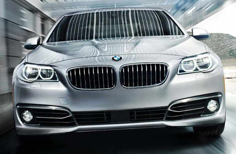 Silver 2016 BMW 5 Series Front Grille On Highway