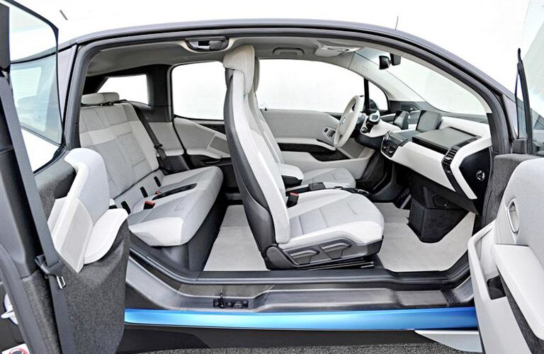 2016 BMW i3 exterior looking inside both cabins with doors open