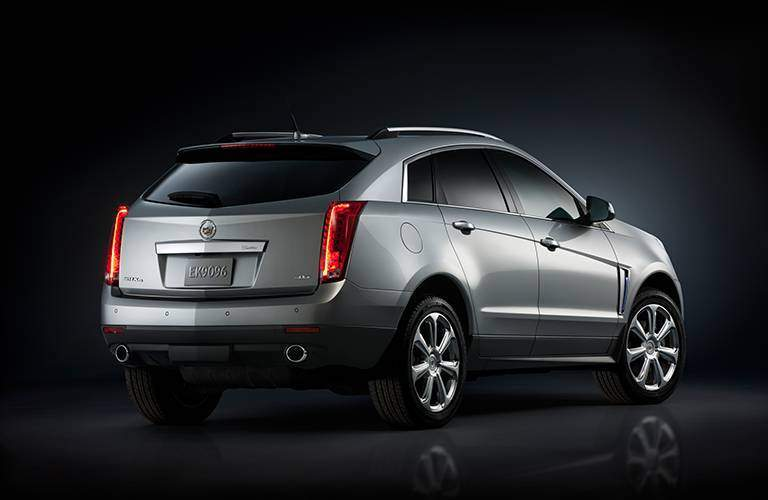 silver Cadillac SRX back side view