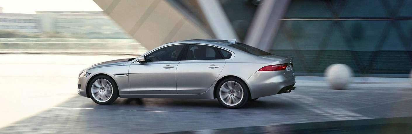 silver Jaguar XF side view