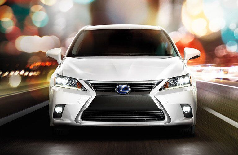 front view of a white Lexus CT hybrid