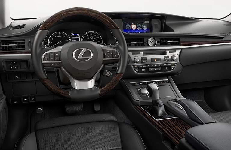 2016 Lexus ES interior front cabin steering wheel and dashboard
