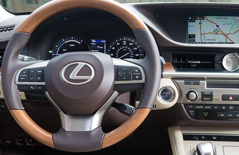 steering wheel and dashboard of the Lexus ES hybrid