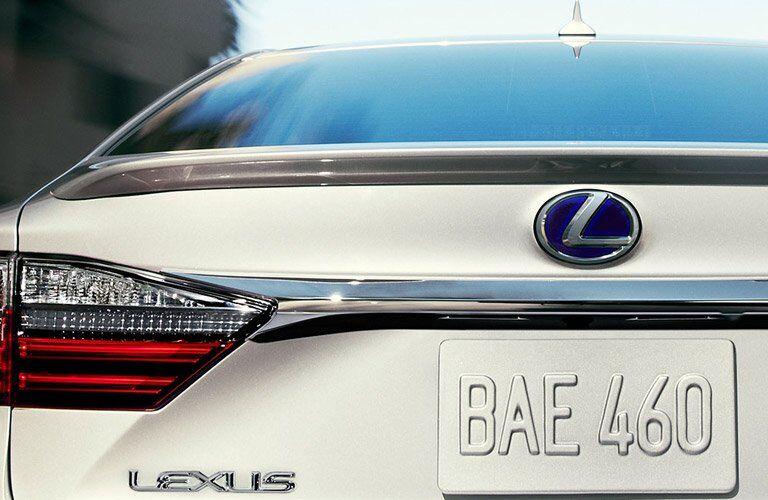 trunk view of a white Lexus ES hybrid