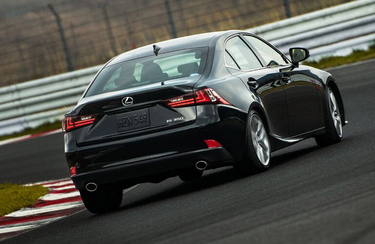 black 2017 Lexus IS on a track seen from the rear