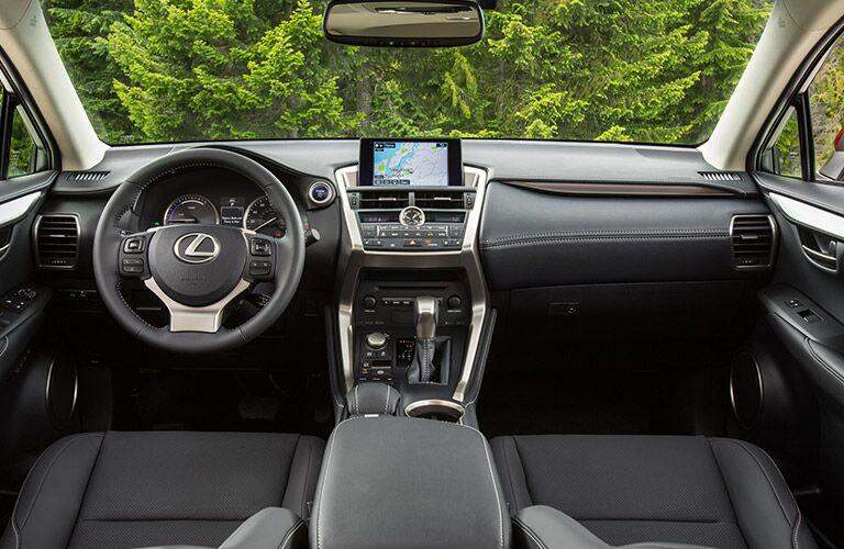 2016 Lexus NX interior front cabin steering wheel and dashboard
