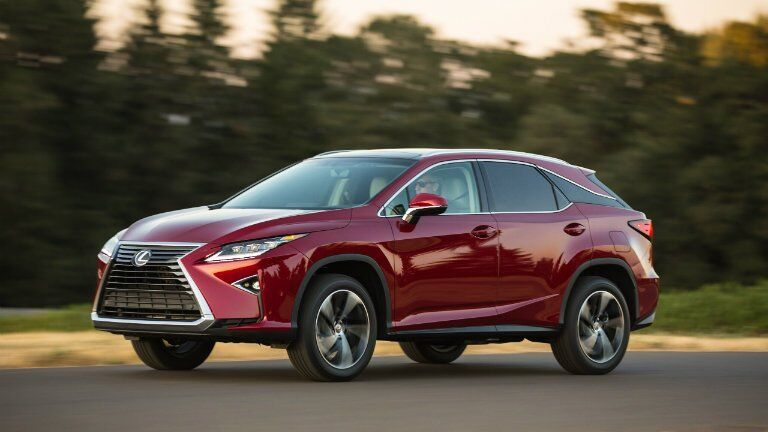 side view of a red 2016 Lexus RX 350