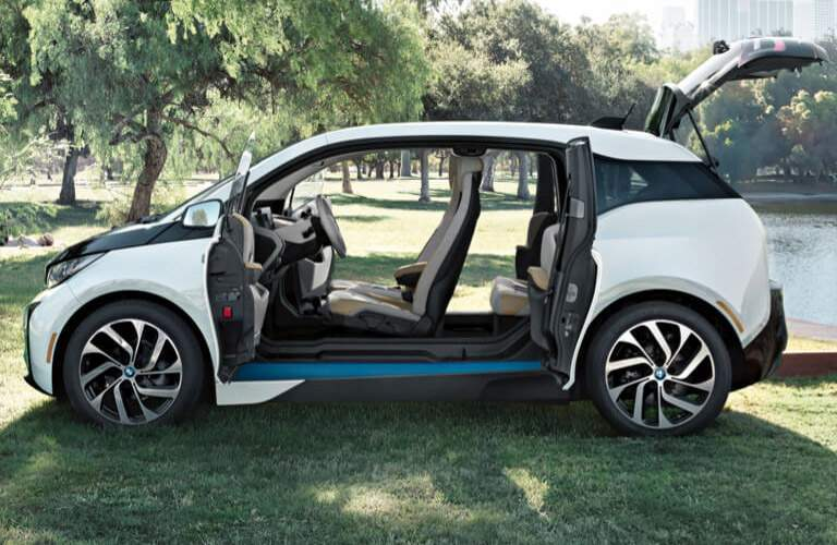 four-passenger 2017 BMW i3 seen from the side with the doors open