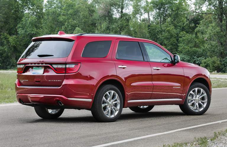 red Dodge Durango back side view