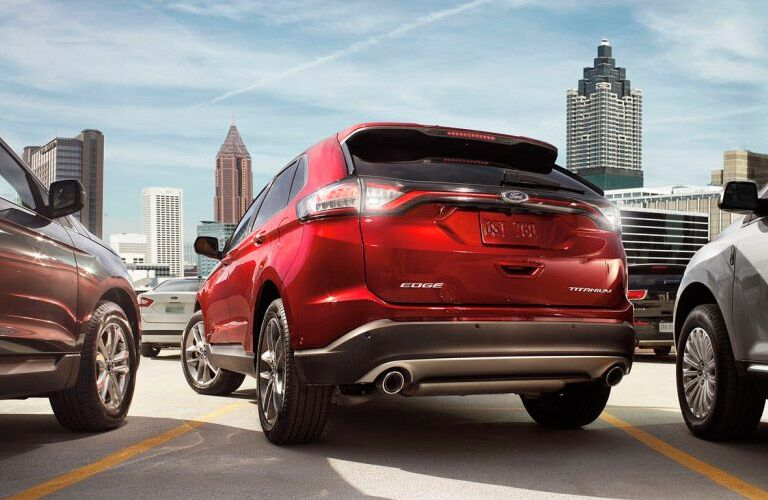 2017 Ford Edge exterior back fascia and drivers side in city parking lot