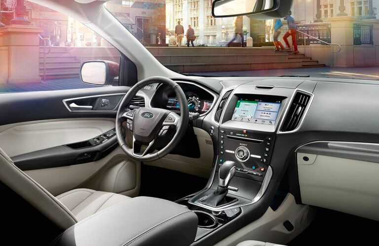 2017 Ford Edge interior front cabin seats steering wheel and dashboard