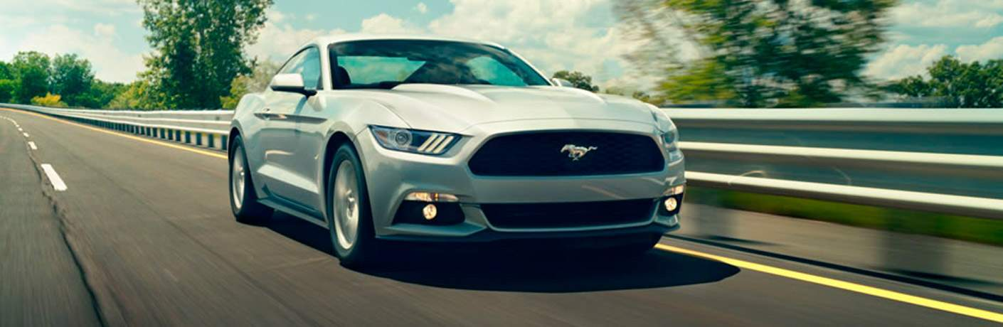 silver Ford Mustang front view