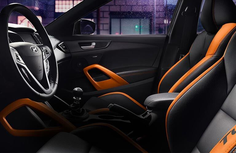 Front seats and steering wheel of 2017 Hyundai Veloster