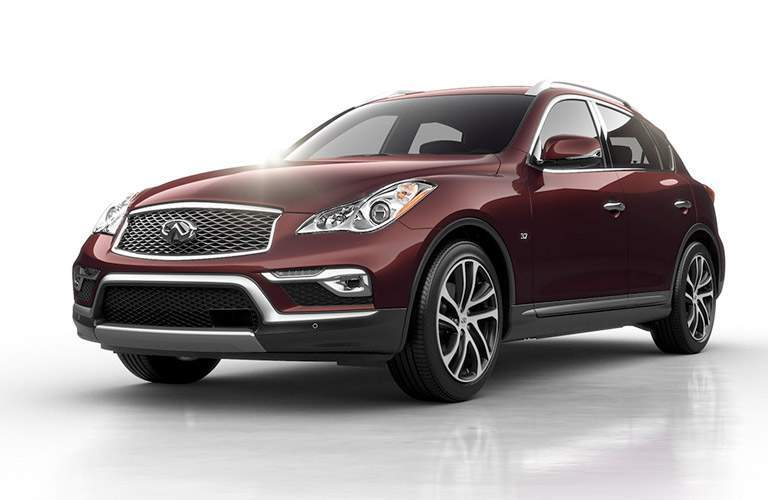 red Infiniti QX50 front side view