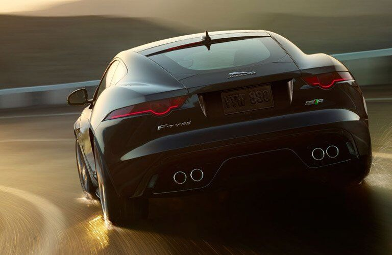 rear view of the 2017 Jaguar F-Type on the road
