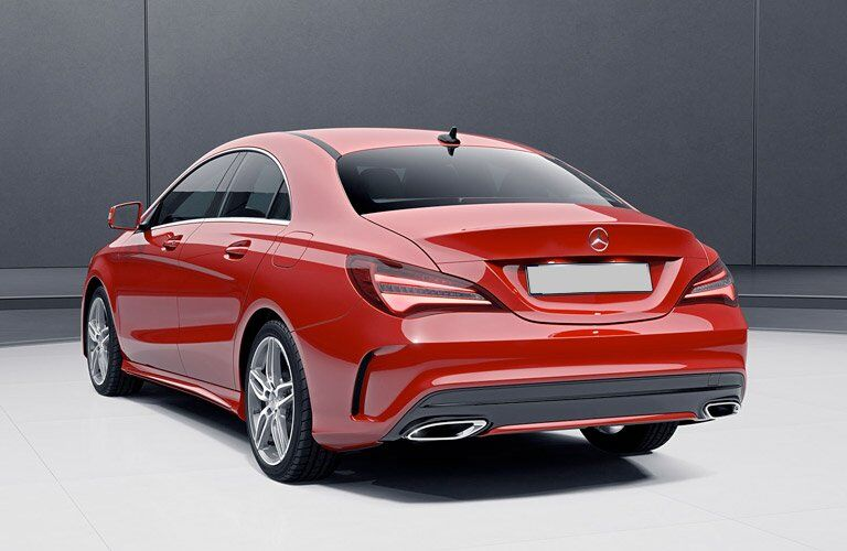 rear view of a red 2017 Mercedes-Benz CLA250
