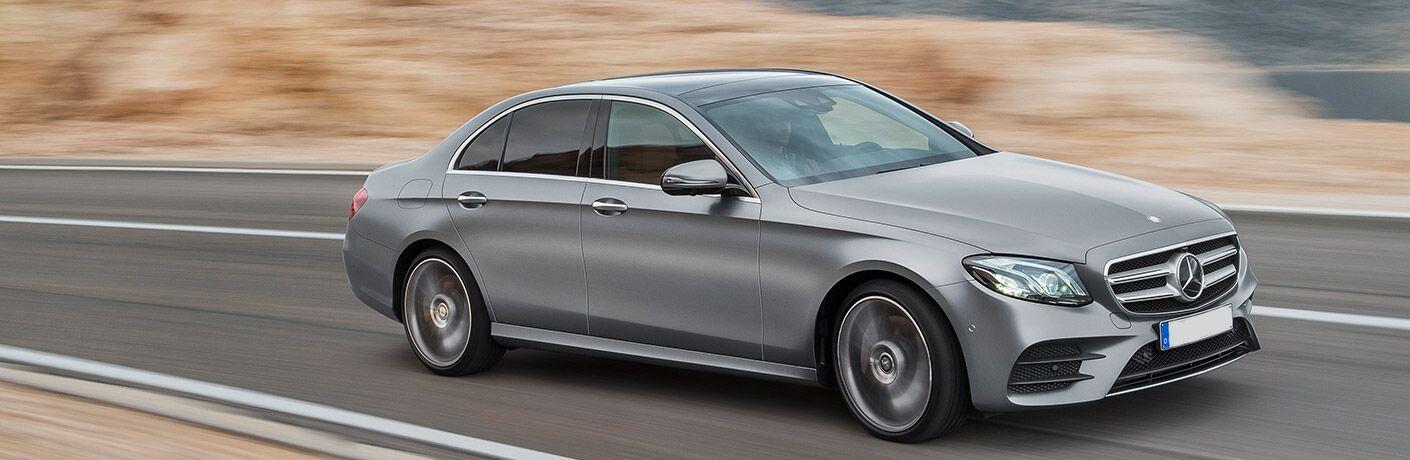 silver Mercedes-Benz E-Class side view