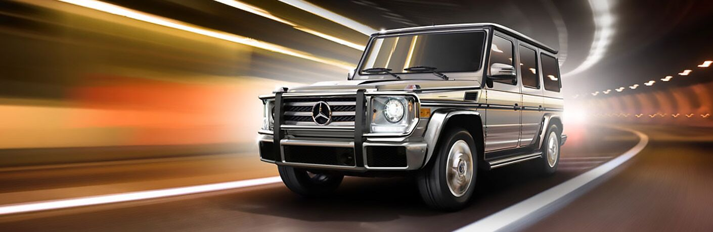 silver Mercedes-Benz G550 front side view