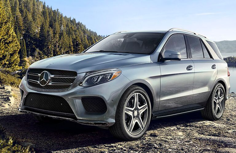 2017 Mercedes-Benz GLE350 exterior front fascia drivers side parked in gravel in front of lake
