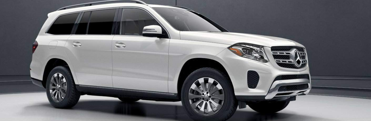 White 2017 Mercedes-Benz GLS on White and Gray Background