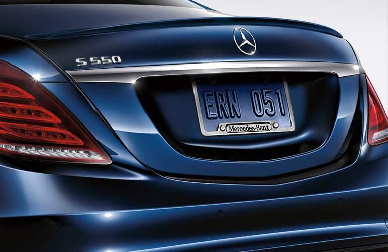 blue Mercedes-Benz S550 back view