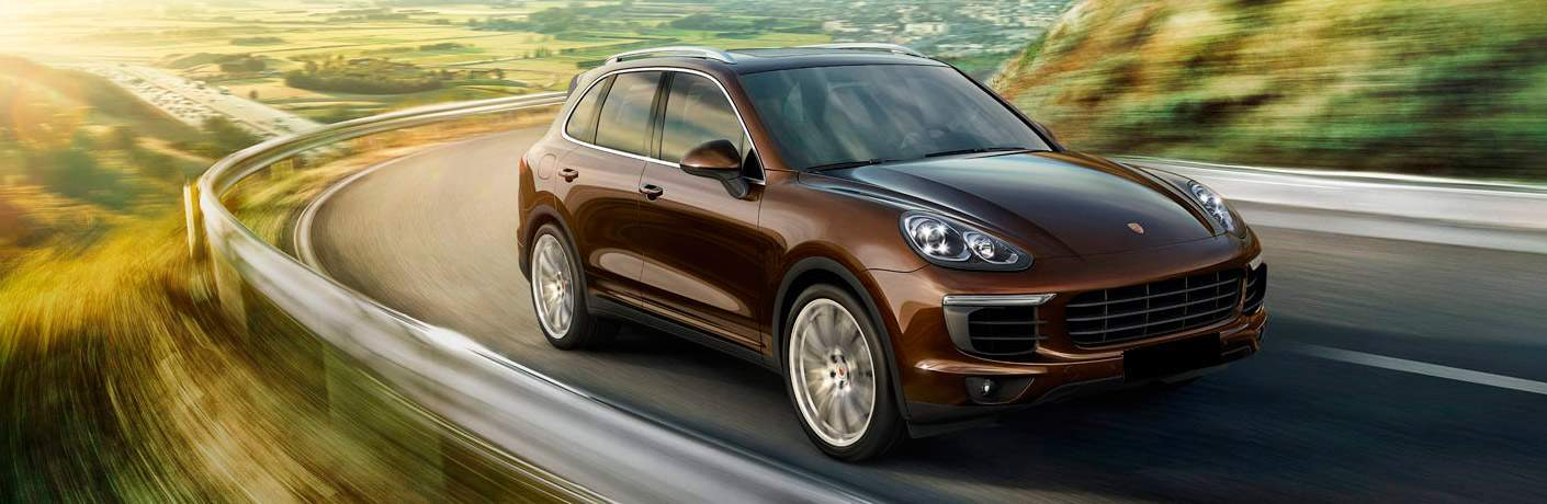 brown 2017 Porsche Cayenne front side view